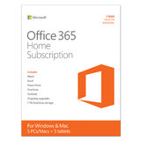OFFICE 365 HOME 32/64 SUBSCRIPTION RETAIL, MEDIALESS,1YR