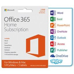 OFFICE 365 HOME 1YR SUBSCRIPTION - MEDIALESS (W10 ONLY)