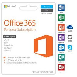 OFFICE 365 PERSONAL 1YR SUBSCRIPTION - MEDIALESS (W10 ONLY)